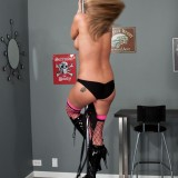 Nikki Sims Stripping With Big Heels And Pasties On