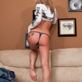 Nikki Sims Cute On The Couch, Shows Off Her Blue Bra And Panties