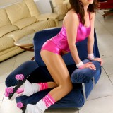 Fabulous Rollergirl Seductively Removes Her Tight Outfit And Stays In Nothing But White Thong And Pantyhose