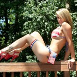 Sexy Nikki In A Red White And Blue Bikini Wishes Everyone A Happy 4th Of July