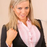 Kate C In A Tight, Figure Hugging, Black Skirt Suit And Pantyhose