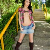 Katie Banks - Naked Outdoors On Pathway