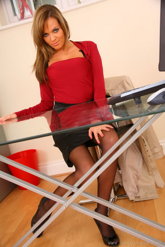 Amazing Secretary Wearing Gorgeous Red Lingerie Beneath Her Outfit