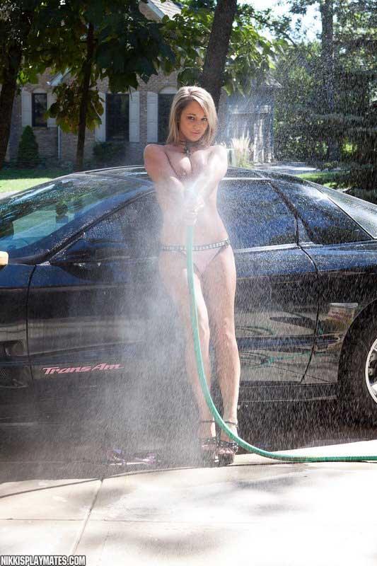 Nikki Washing Her Beast In A Pink Bikini