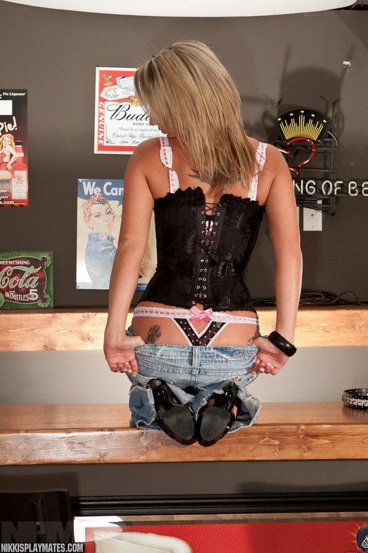 Nikki In Her Corset Top Sittin On The Bar