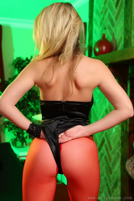 Brooke G In A Black Satin Leotard And Red Pantyhose