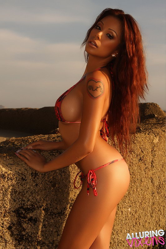 Alluring Vixen Jeri Shows Off Her Perfect Curves In Her Tiny Red And Black Bikini
