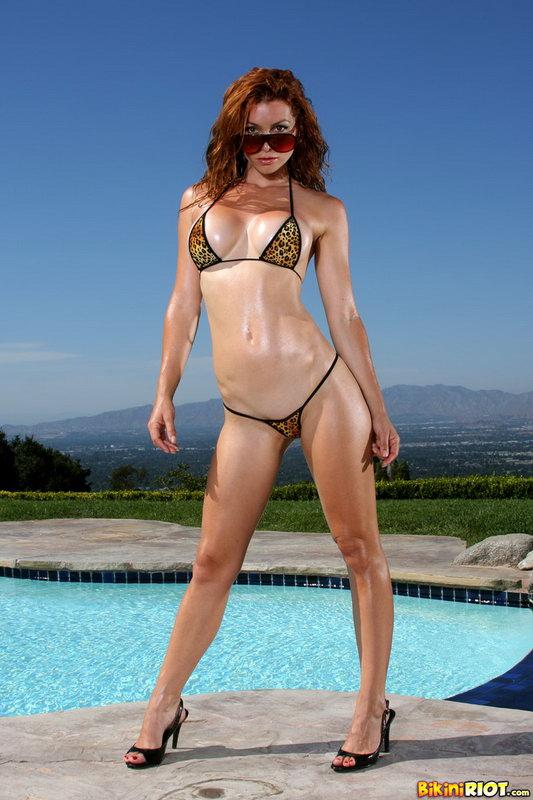 Heather Vandeven Strips Exotic Leopard G-string Bikini