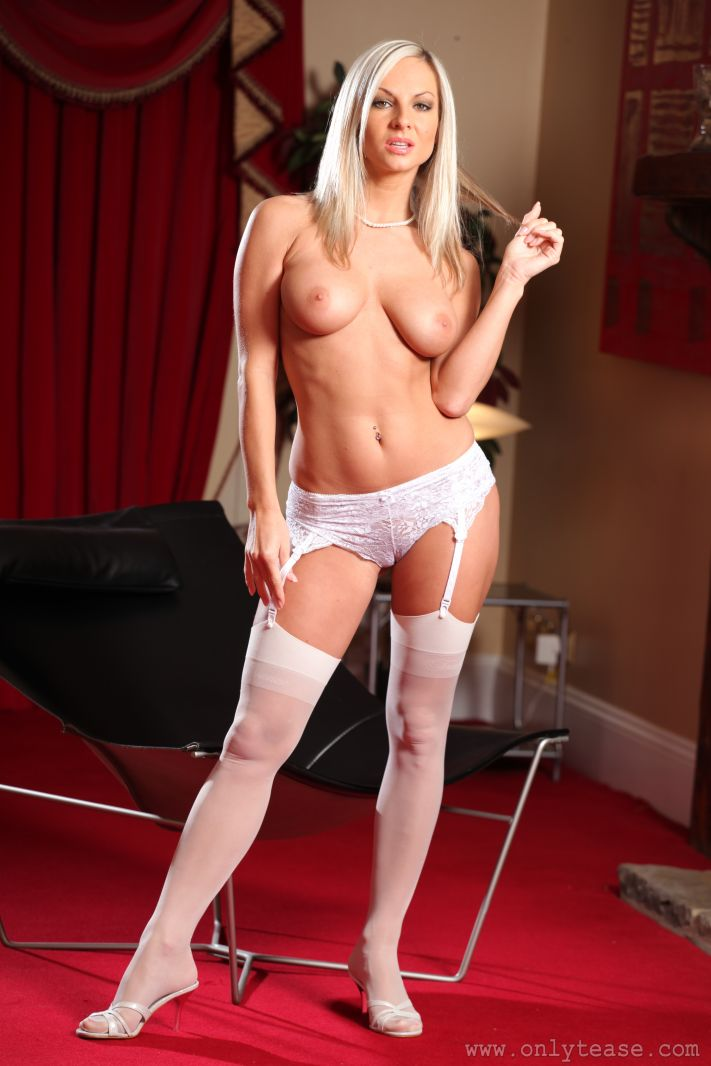 Sultry Princess Strips Down To Just Her White Stockings And Heels