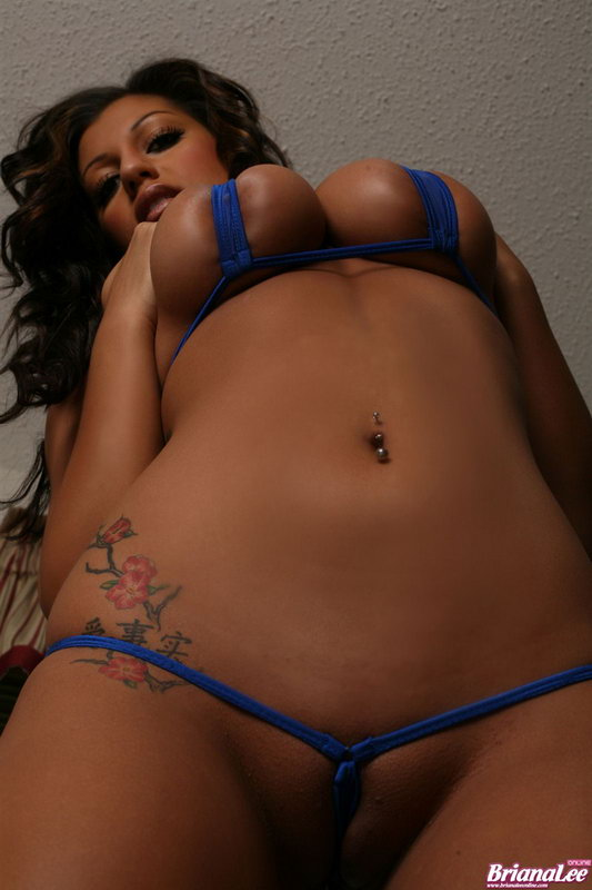 Briana Lee In A Tiny Blue Bikini Strips Shows Off Sexy Curves