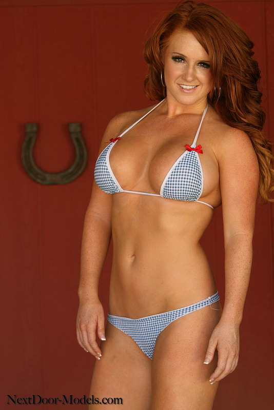 Red Hot Kate Adams Shows Off All Her Freckles In Her Blue And White Country Girl Bikini