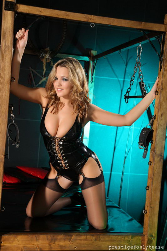 Jodie Gasson Shows She Has A Real Naughty Streak As She Poses In Her Latex Corset, Stockings And High Heels