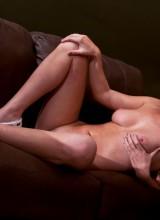 Bella Xoxo sportin a plaid bikni chillin on the couch