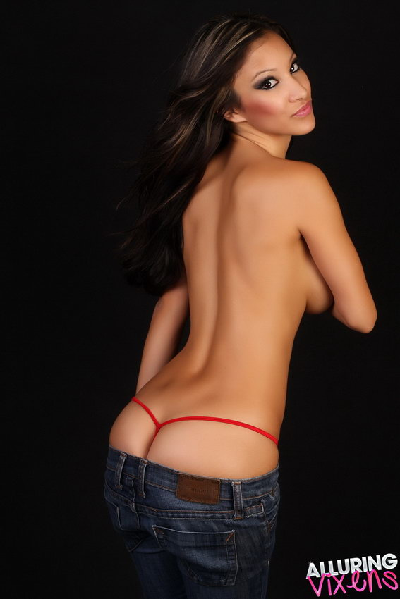 Alluring Vixen Kira Looks Stunning As She's Topless With Just Tight Jeans And A Red G-string