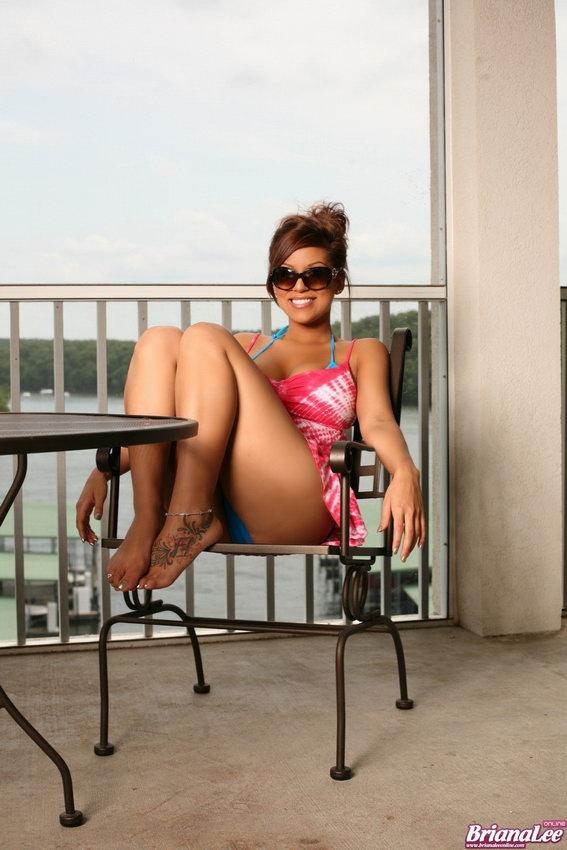 Briana Lee Removes Her Two Piece Bikini Lake Side