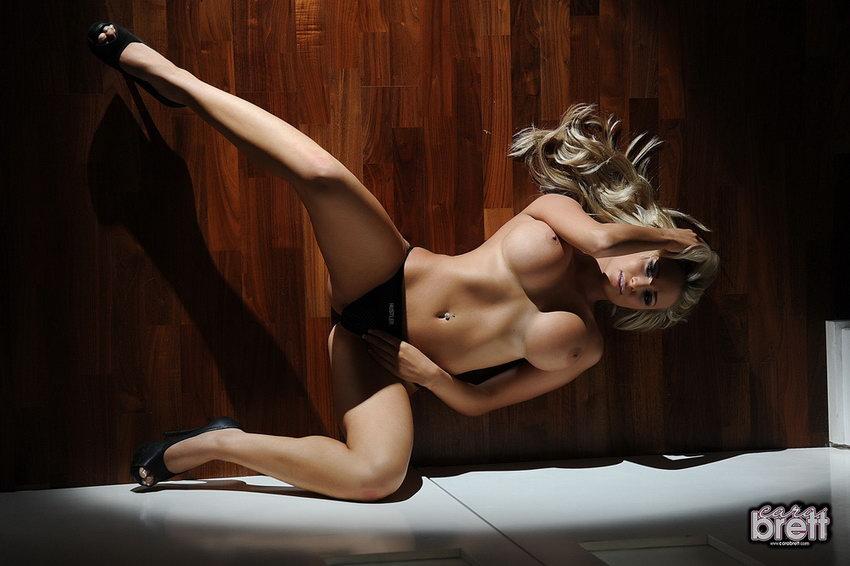 Cara Brett Stripping Naked From Her Black Seethru Hustler Lingerie