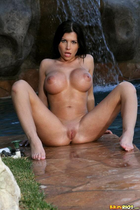 Bikini Riot: Rebeca Linares Luscious Dripping Wet Ass In Yellow Thong Bikini