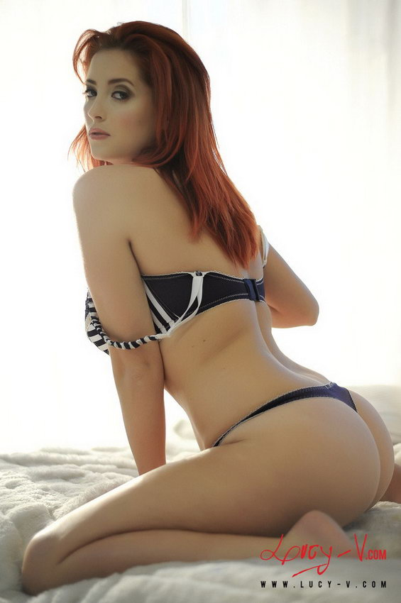 Lucy V Stripping Frm Her Black And White Bra And Thong Revealing Her All Natural 34g Breasts