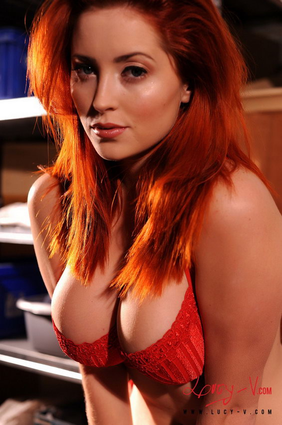 Lucy V Stripping Nude From Her Red Bra And Panties Revealing Her All Natural 34g Breasts