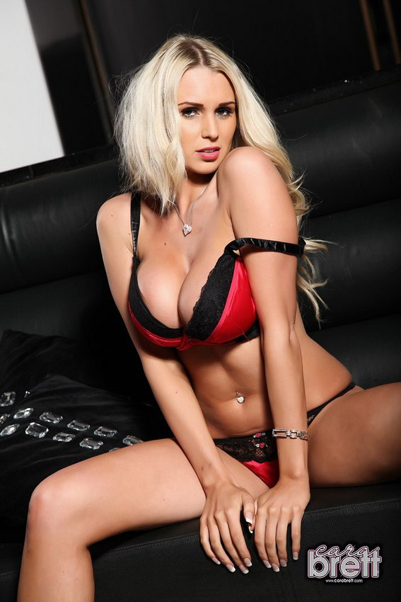 Cara Brett Strips Nude From Her Red And Black Bra And Thong