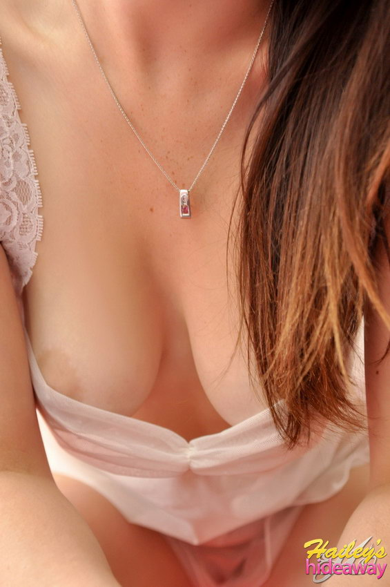 Hailey's Hideaway: Haileys Big Perfect Tits Are Showing Through Her Sexy Sheer Dress