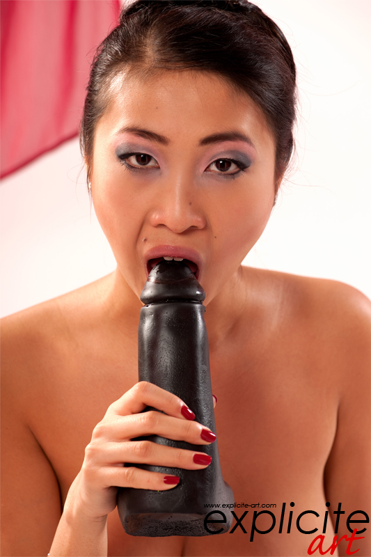 Explicite-art: Sharon Lee, Busty Asian Babe, Playing With A Very Big Toy