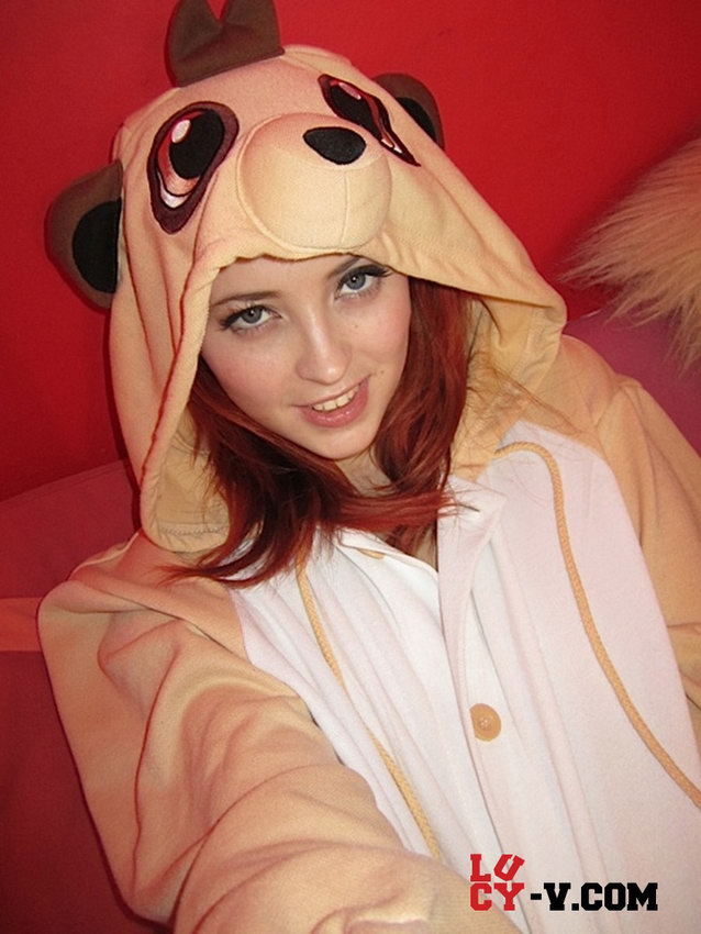 Lucy V In Her Bedroom In Her Onesie Showing Off Her Natural 34g Breasts