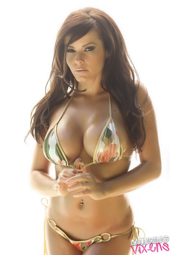 Alluring Vixens: Busty Vixen Candace Shows Off Her Perfect Curves In A String Camo Bikini