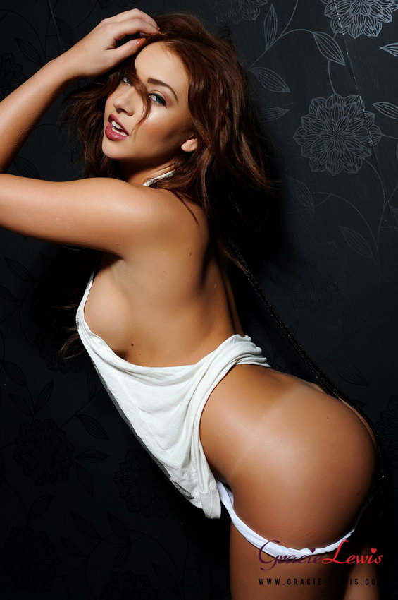Gracie Lewis Stripping From Her Long White T-shirt And White Thong