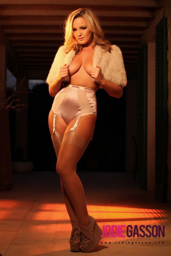 Jodie Gasson In Her Stockings And Suspenders Peeling Off Her Fur