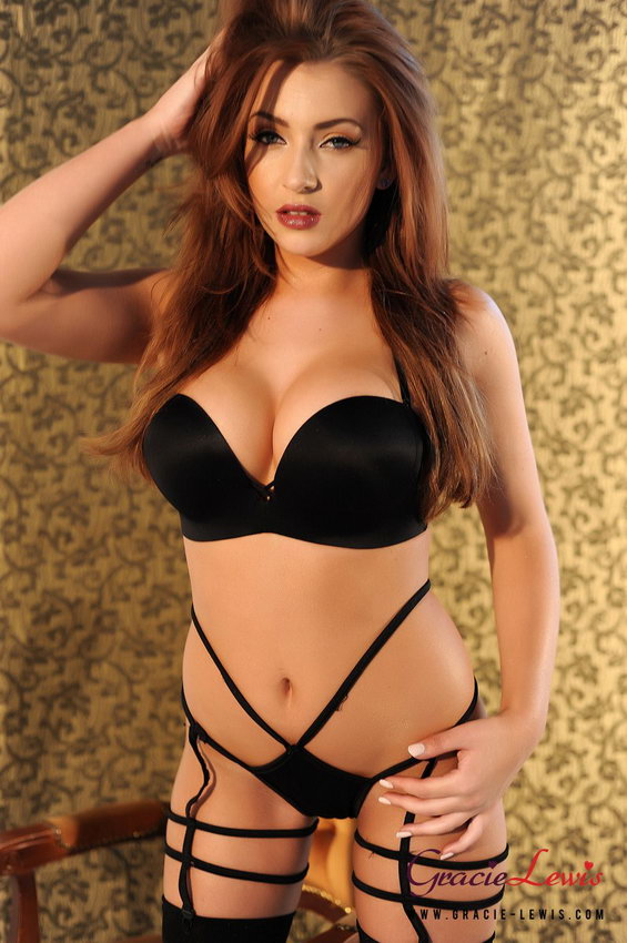 acd3a5552 Gracie Lewis looking lush in her black lingerie and stockings