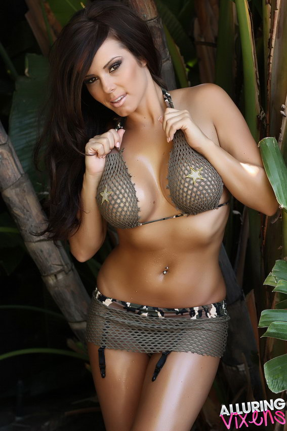 Alluring Vixens: Candace Teases With An Army Themed Mesh Bikini Outdoors