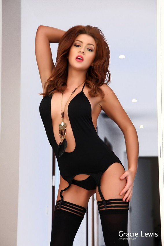 Gracie Lewis In Her Black Bodysuit And Peels Out Of Her Black Stockings