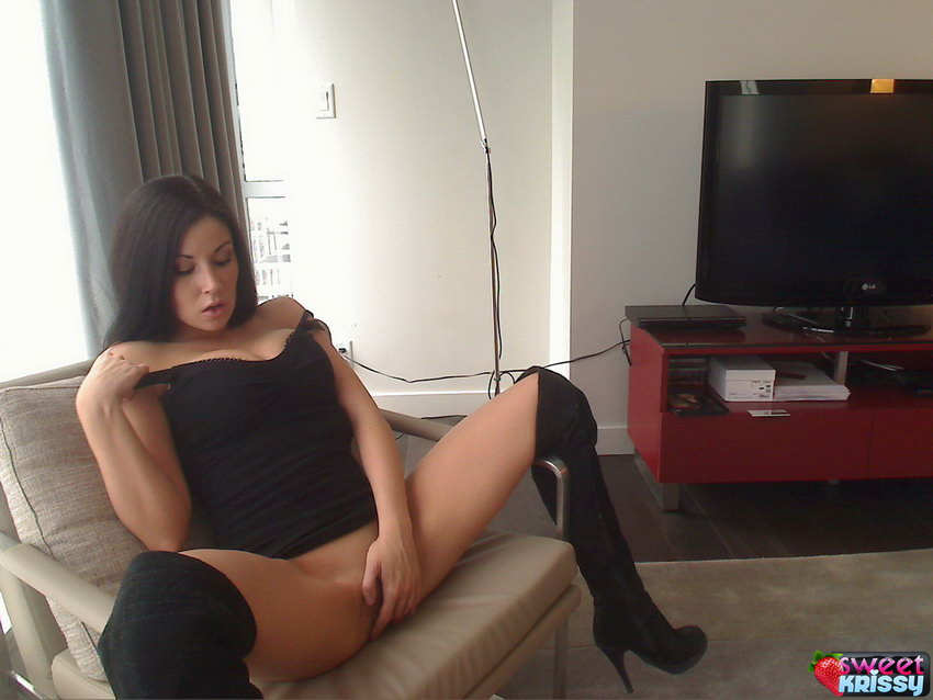 Busty Sweet Krissy Loves To Show Off Her Tight Round Ass And Sexy Legs In Black Boots