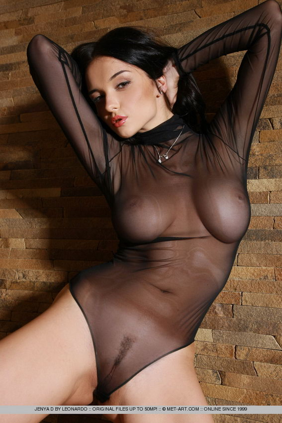 Met-art: The Busty Jenya In An Ultra Revealing, Sheer Black Leotard