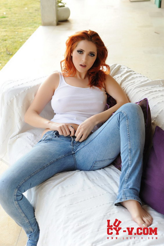 Lucy V In Her White Top And Tight Jeans With No Bra Or Panties