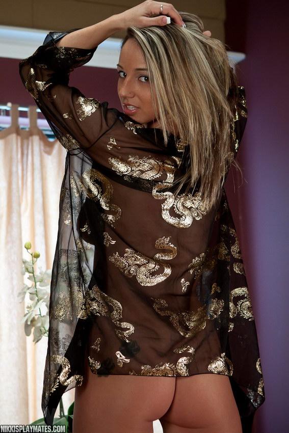 Sexy Nikki Sims In Her Sheer Black Kimono On The Table
