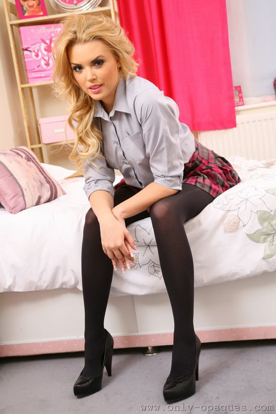 Onlyopaques: Porchia W - Very Short Tartan Skirt And Black Opaque Pantyhose - A Perfect Combination