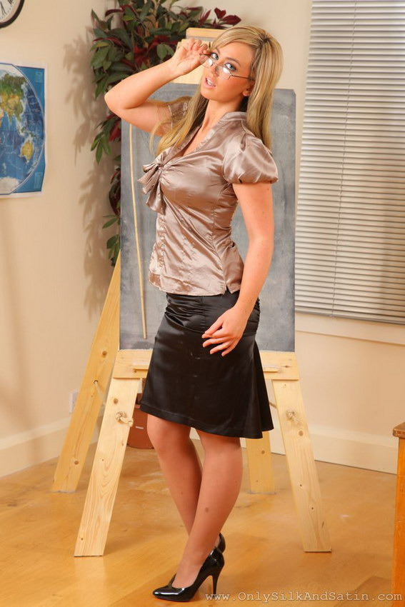 Only Silk And Satin: Rosie Lee In Silk Shirt And Black Mini Skirt With Suspenders