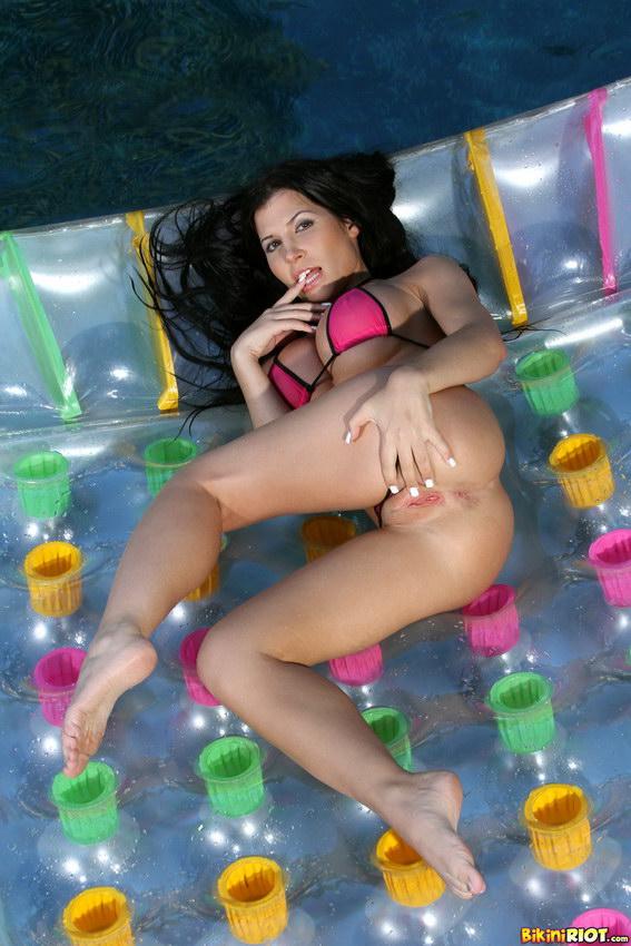 Bikini Riot: Rebeca Linares Floating In Sheer Pink Thong Bikini