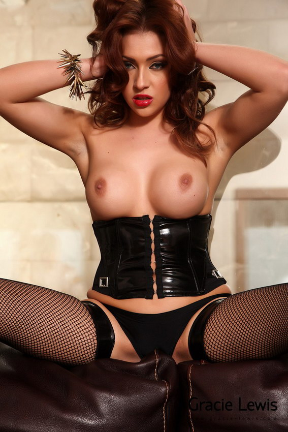 Gracie Lewis In Strips From Her All Leather Lingerie
