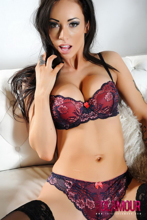 This Is Glamour: Lauren Rosario Peels Off Her Sexy Lingerie Just Leaving Her Stockings On