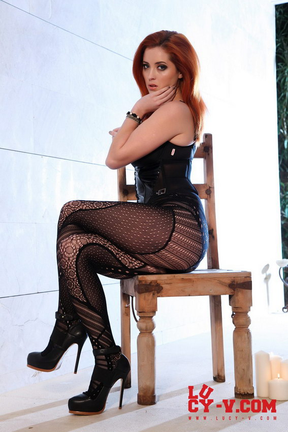 Lucy V In Her Kinky Leather And Lingerie