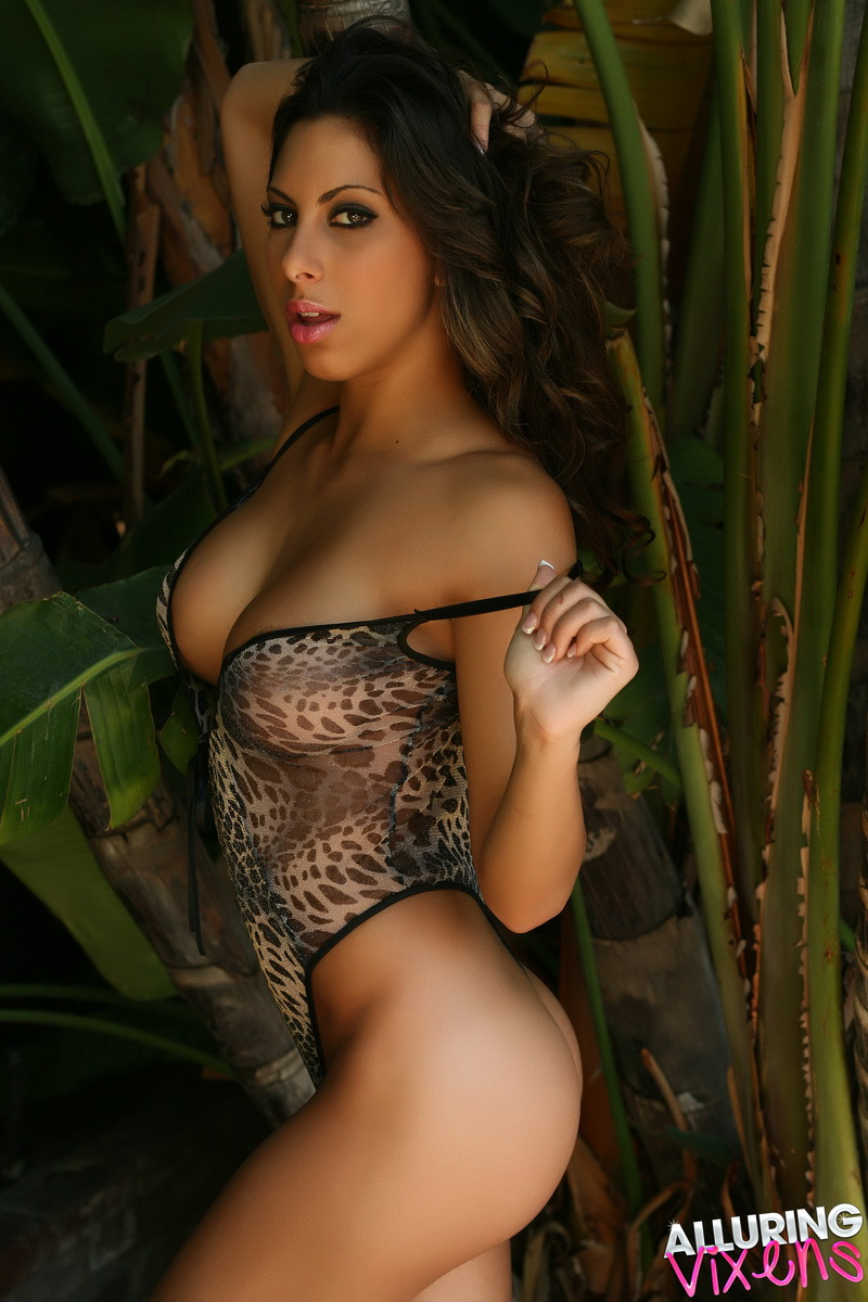 Alluring Vixens: Exotic Alluring Vixen Leila Shows Off Her Curves In A Skin Tight Semi Sheer Animal Print Outfit