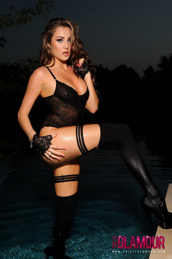 This Is Glamour: Chloe G Gets All Wet In The Pool In Her Black Bodysuit, Stockings And Heels