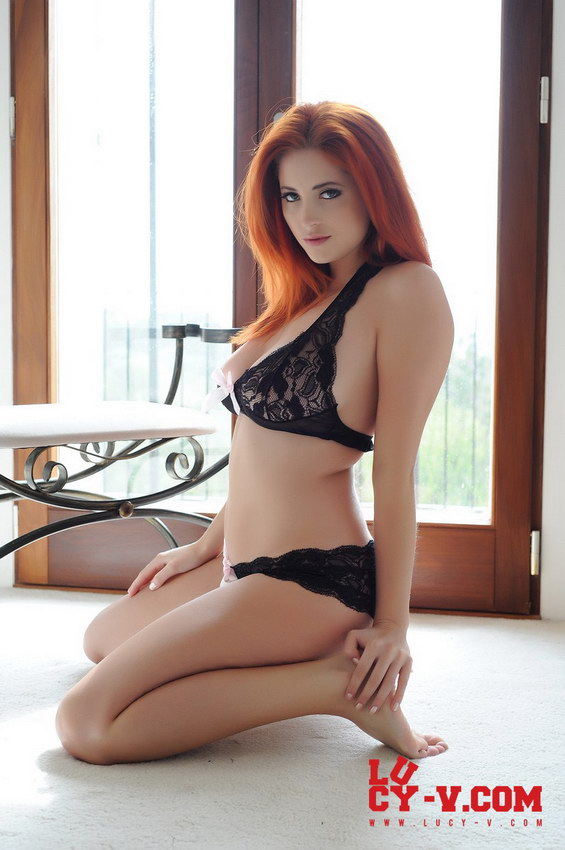 Lucy V Strips From Her See Thru Lingerie