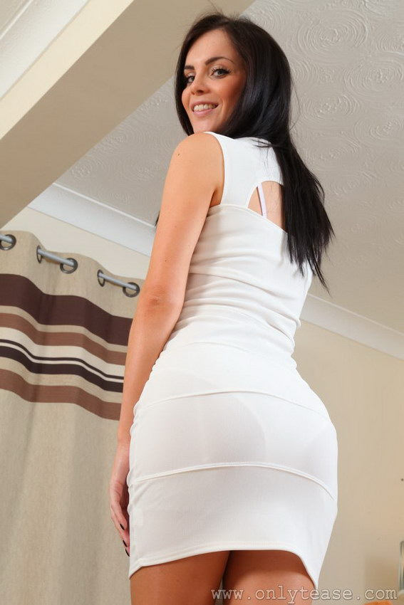 Onlytease: Gorgeous Emma In White Dress And Suspenders