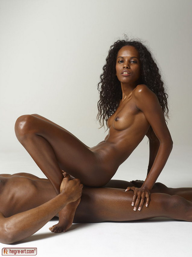 Hot ebony girl doing handjob