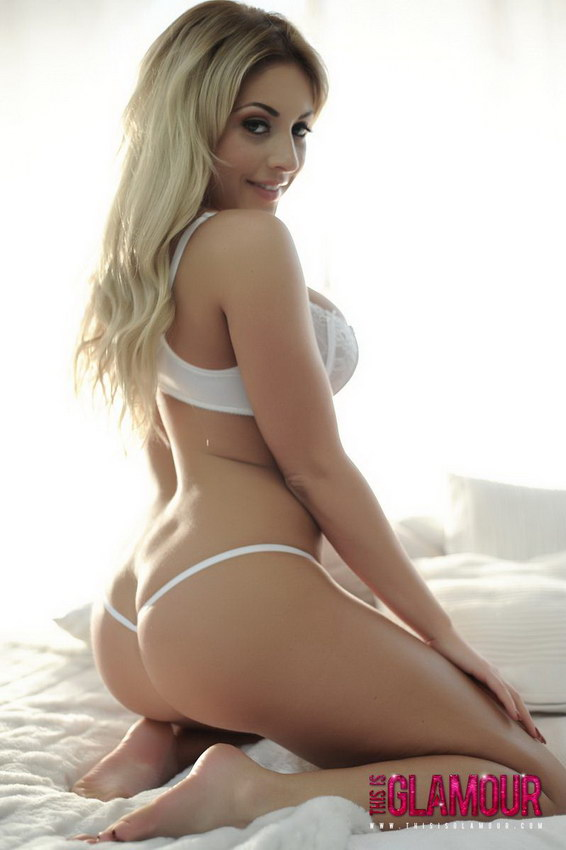 This Is Glamour: Ashley Emma Looks So Hot In Her White Bra And Thong In Her Bed