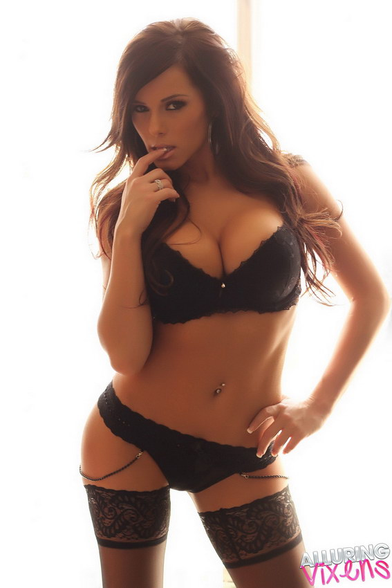 Alluring Vixens: Candace Glows In Her Black Lace Bra And Panties With Matching Black Nylons